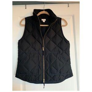 Women's black quilted j crew vest (size S)